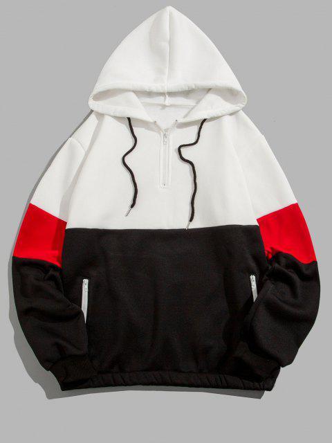 Viertel Reißverschluss Kontrast Fleece Hoodie - Weiß 2XL Mobile