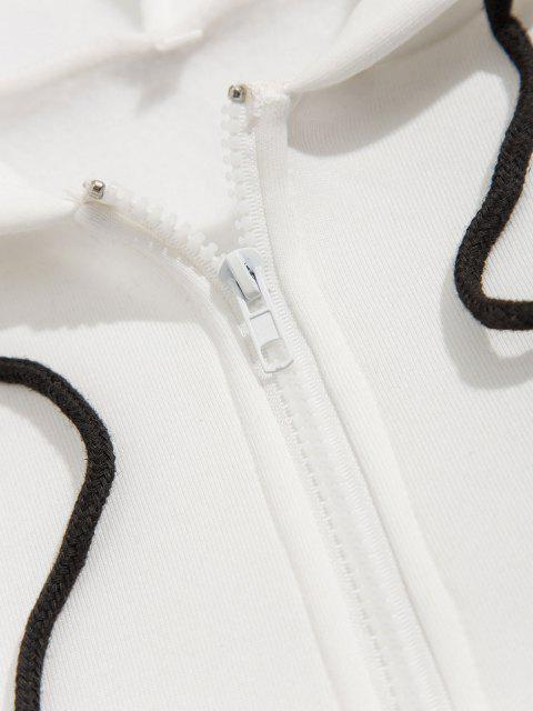 ladies Quarter Zip Contrast Fleece Hoodie - WHITE XL Mobile