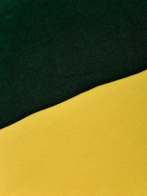 Viertel Reißverschluss Kontrast Fleece Hoodie - Dunkelgrün M Mobile