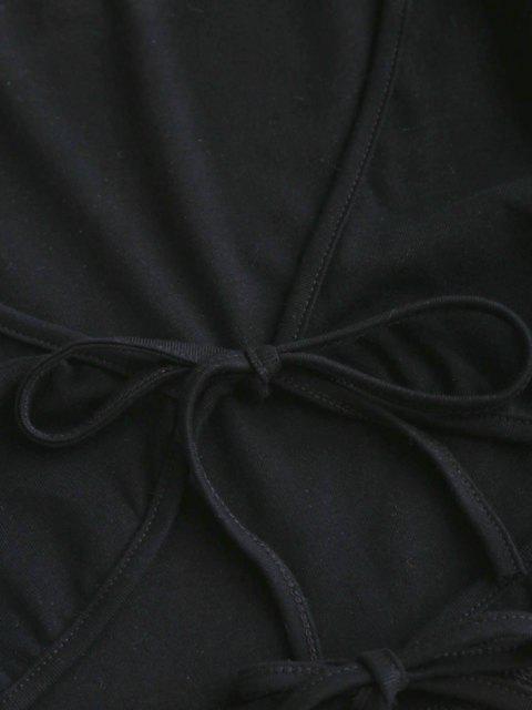 Camiseta de Decote Profundo Barriga de Fora Cortado - Preto S Mobile