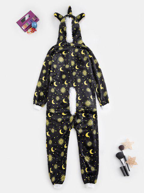Plüsch Sonnen Mond Muster Einhorn Kostüm Onesie Pyjama - Gelb L Mobile