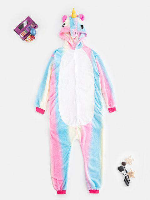 outfit Plush Button Through Pocket Rainbow Unicorn Costume Pajama Onesie - MULTI S Mobile