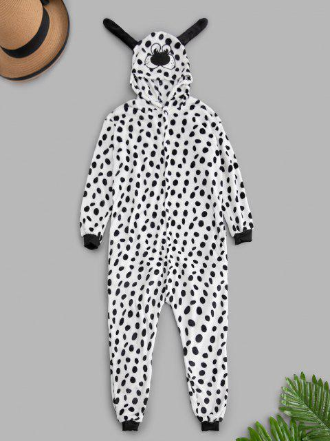 latest Dalmatian Dog Plush Button Through Costume Pajama Onesie - WHITE S Mobile
