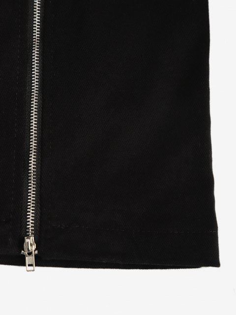 new Buckle Front Double Zip Mini Skirt - BLACK M Mobile