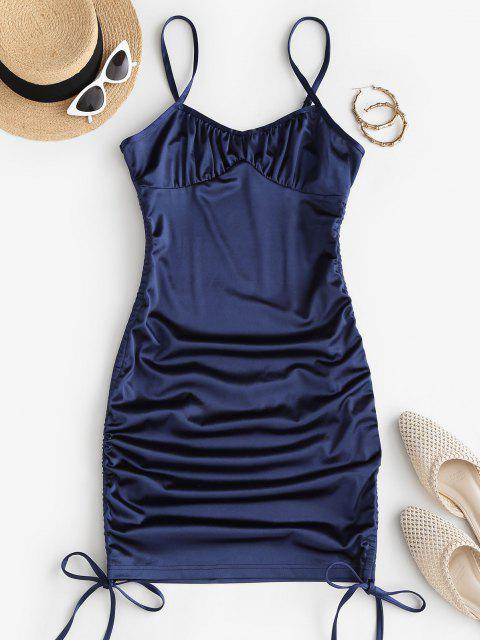 hot Cinched Side Silky Bustier Slinky Dress - DEEP BLUE M Mobile