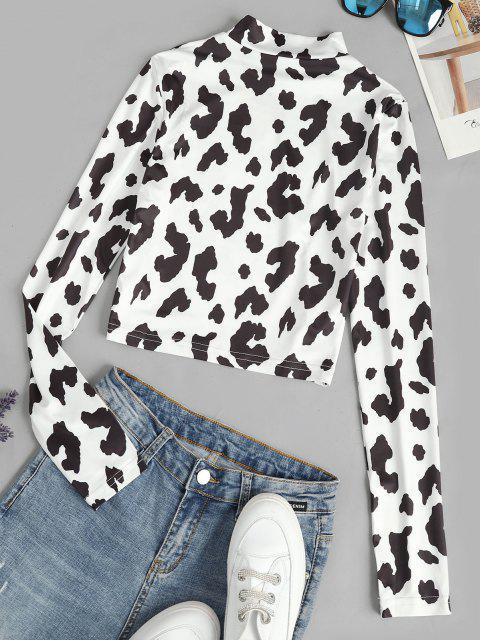 fashion Cow Print Slim Crop Baby Tee - WHITE S Mobile