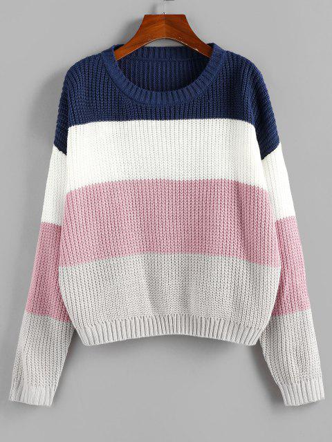 Maglione a Blocchi di Colore con Spalle Scivolate di ZAFUL - Multi Colori L Mobile