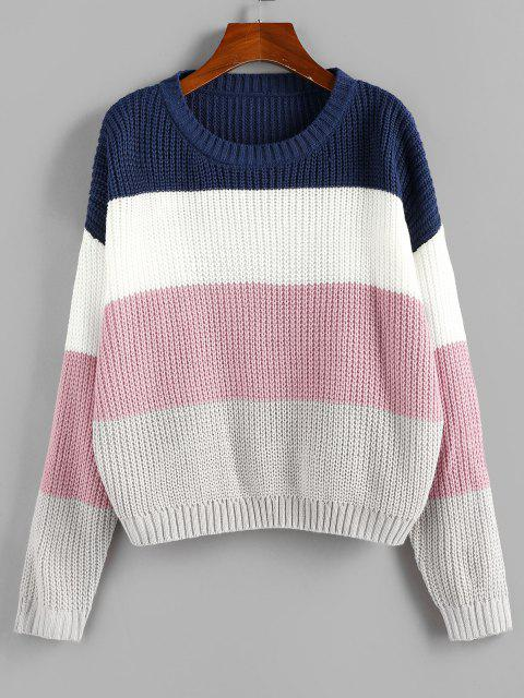 outfit ZAFUL Color Blocking Drop Shoulder Jumper Sweater - MULTI M Mobile