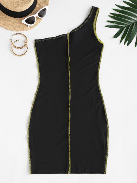 fashion Exposed Seam One Shoulder Slinky Dress - BLACK M Mobile