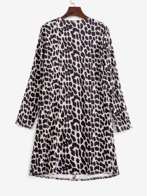 women Leopard Animal Print Pocket Open Tunic Cardigan - MULTI L Mobile