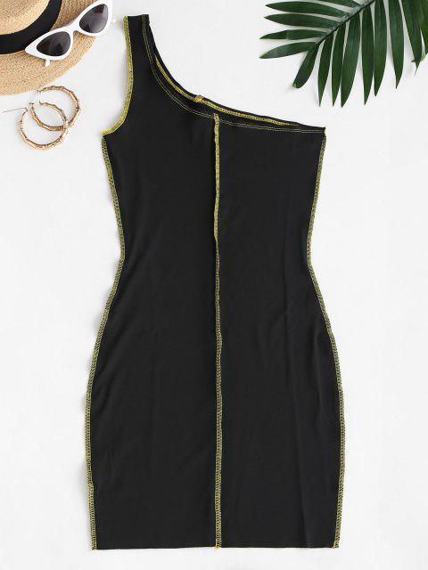 best Exposed Seam One Shoulder Slinky Dress - BLACK S Mobile