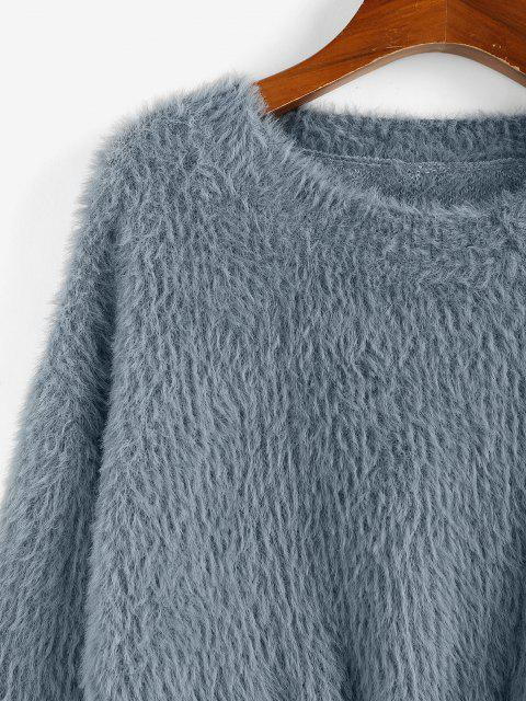 ZAFUL Flaumiger Einfacher Crop Pullover - Grau L Mobile