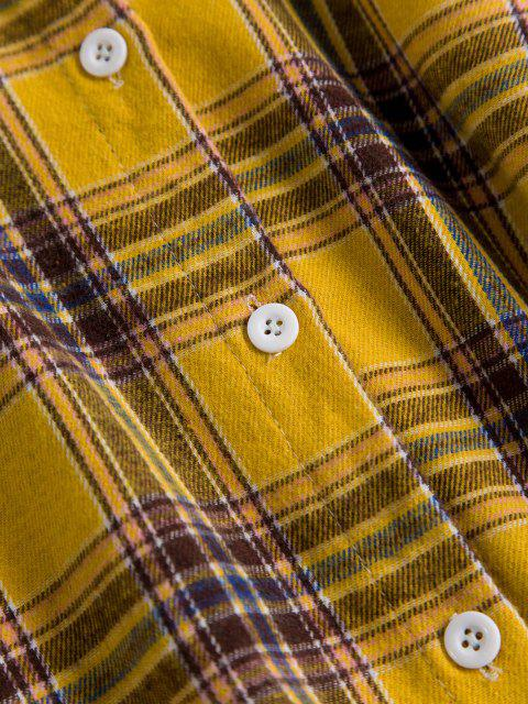 women Drop Shoulder Plaid High Low Shacket - YELLOW ONE SIZE Mobile