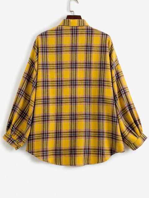 Drop Shoulder Plaid High Low Shacket - الأصفر حجم واحد Mobile