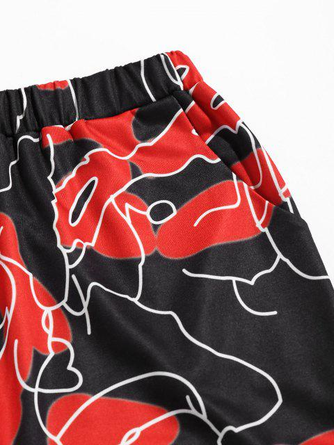 Pantaloni a Vita Alta con Stampa Astratta di ZAFUL - Nero S Mobile
