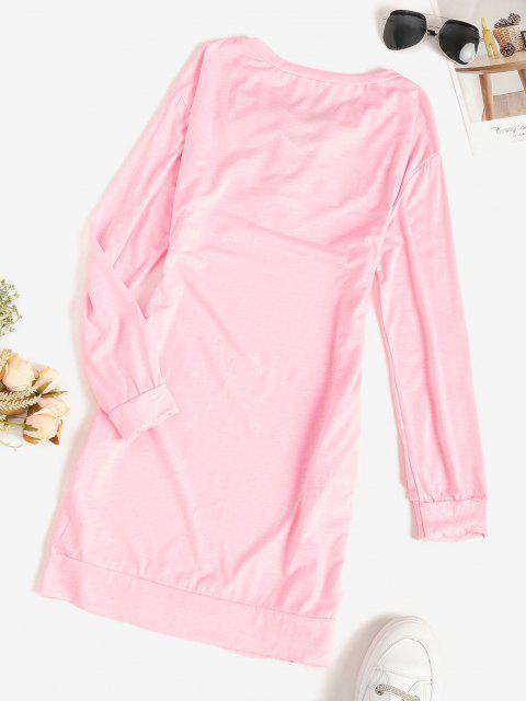 shop Lace-up Pocket Shift Sweatshirt Dress - LIGHT PINK M Mobile