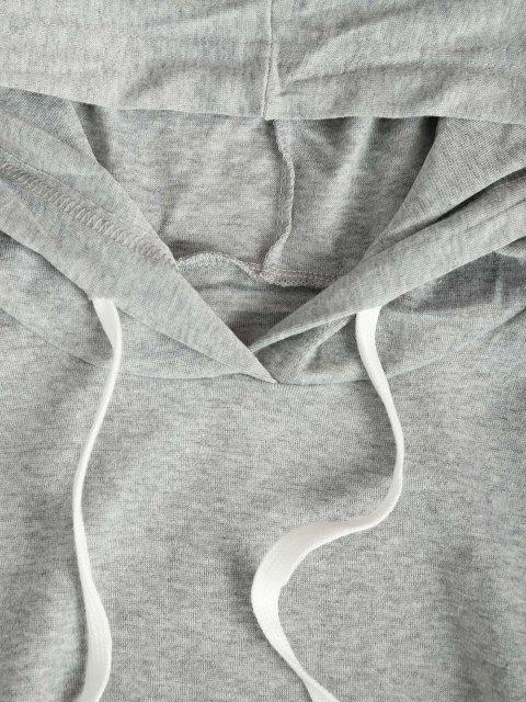 lady Hooded Pocket Slit Bodycon Dress - LIGHT GRAY M Mobile