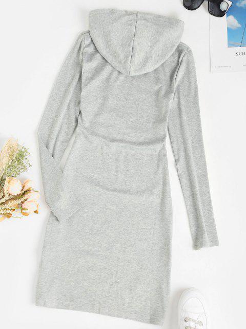 Hooded Pocket Slit Bodycon Dress - رمادي فاتح M Mobile