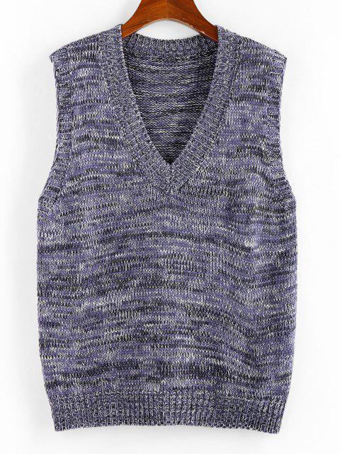 ZAFULヘザーVネックセーターベスト - 紫の M Mobile