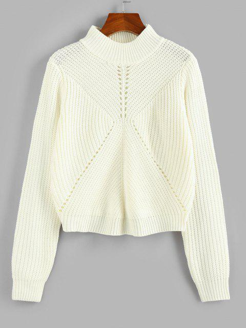 Pointelle Strick Stehkragen Pullover - Weiß M Mobile