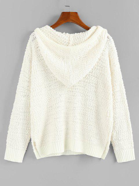 ZAFUL Boucle Knit Hooded Sweater - أبيض S Mobile
