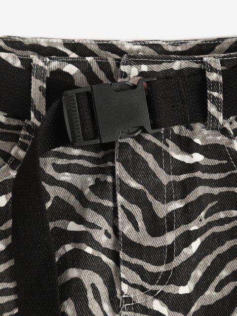 trendy Zebra Print Buckled Belt Mini Skirt - BLACK XL Mobile