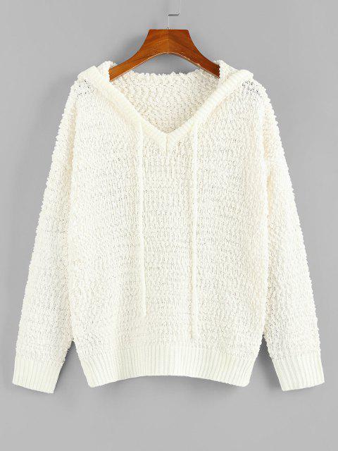 women ZAFUL Boucle Knit Hooded Sweater - WHITE M Mobile