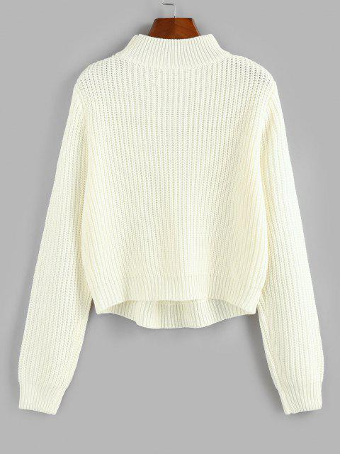 lady Pointelle Knit Mock Neck Sweater - WHITE S Mobile