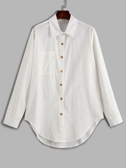online Pocket Curved Hem Longline Shirt - WHITE XL Mobile
