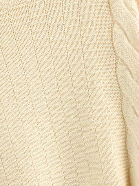 ZAFUL Stehkragen Pullover mit Ausgefranstem Saum und Hängender Schulter - Licht Kaffee L Mobile