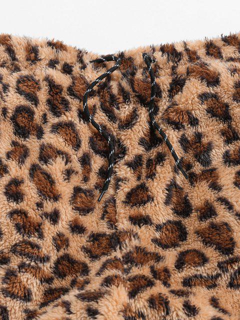 ZAFUL Pantalones de Piel Sintética con Estampado de Leopardo - Camel Marrón XL Mobile