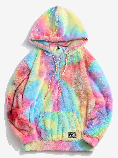 new Half Zip Tie Dye Faux Fur Fluffy Hoodie - MULTI M Mobile