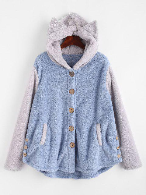 women's Fluffy Two Tone Animal Blanket Hoodie Coat - GRAY L Mobile