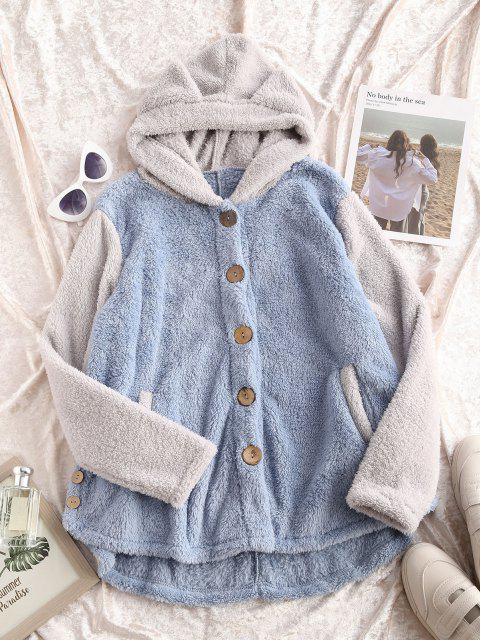 lady Fluffy Two Tone Animal Blanket Hoodie Coat - GRAY S Mobile