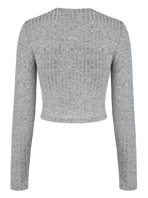 shops Underbust Trim Ribbed Heathered Cropped T Shirt - LIGHT GRAY S Mobile