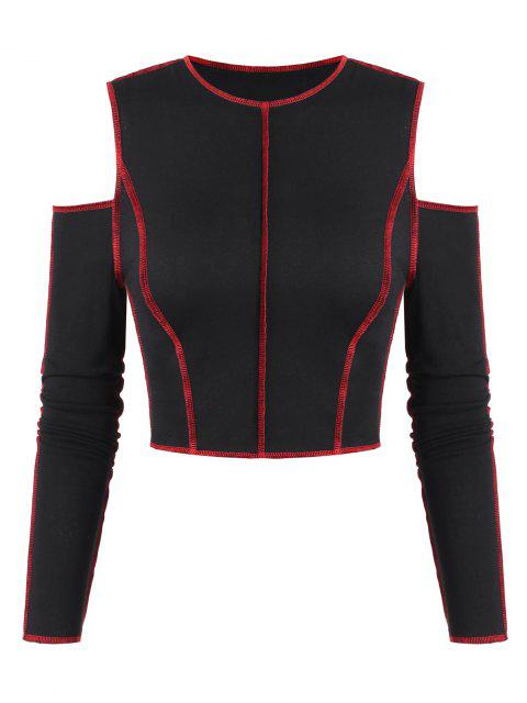 trendy ZAFUL Topstitch Cold Shoulder Crop Slim Tee - BLACK L Mobile