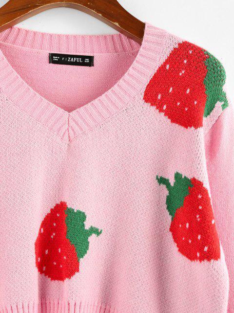 ZAFUL Camisola Colheita de Padrão de morangos Cortado - Rosa Claro L Mobile