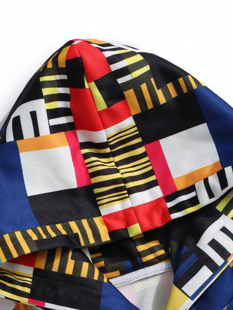 online Geometric Pattern Front Pocket Fleece Hoodie - GRAY XL Mobile