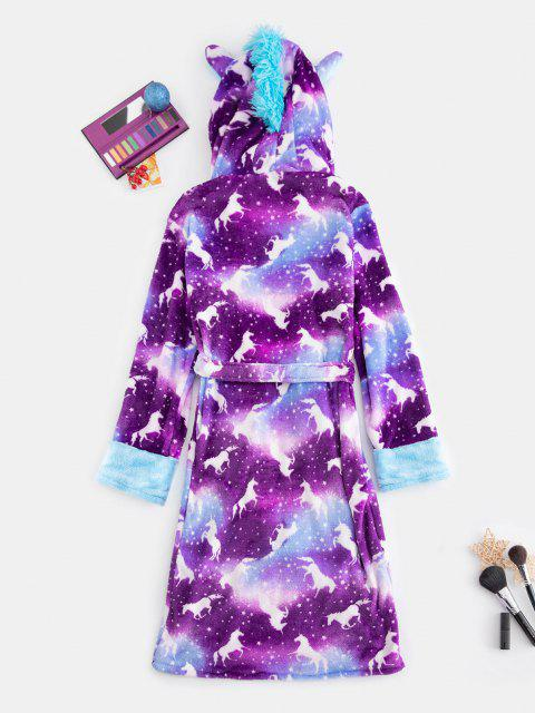 online Plush Unicorn Pocket Belted Costume Pajama Robe - MULTI M Mobile