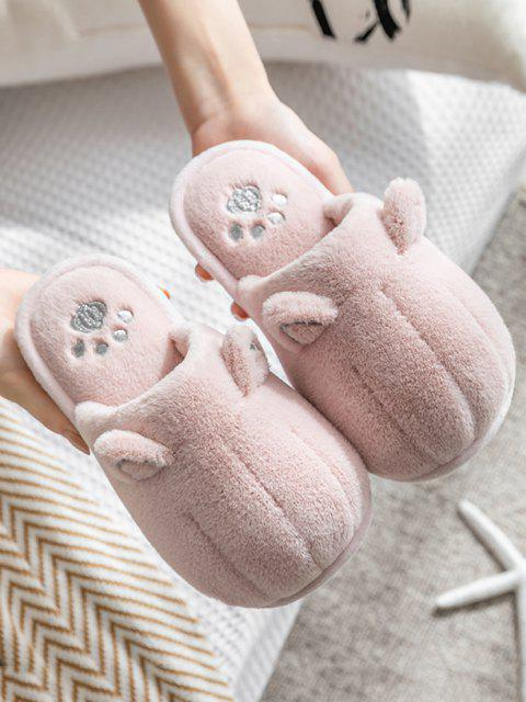 buy Animal Ear Faux Fur Slippers - PINK EU 38 Mobile