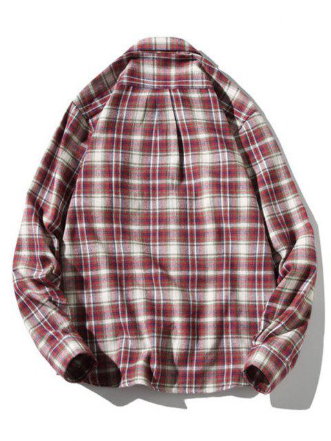 women's Turn-down Collar Button Up Plaid Shirt - RED WINE M Mobile
