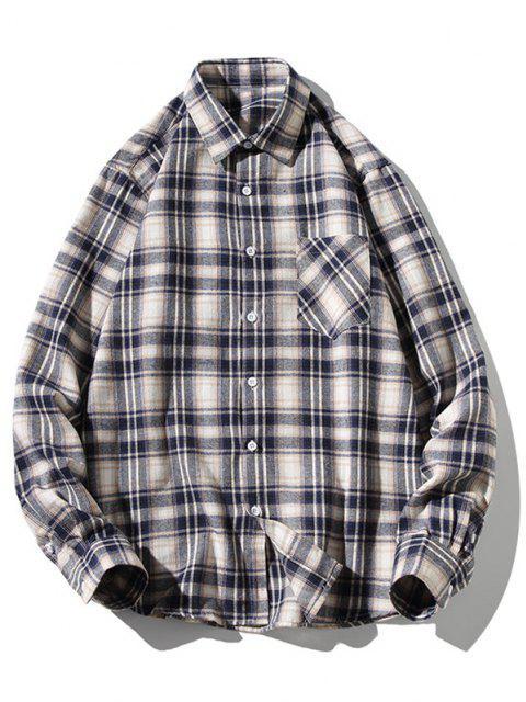 ladies Turn-down Collar Button Up Plaid Shirt - WHITE M Mobile