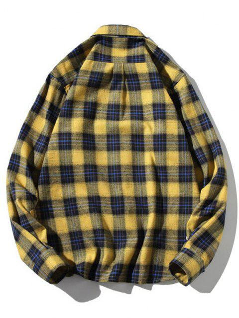outfits Turn-down Collar Button Up Plaid Shirt - YELLOW L Mobile