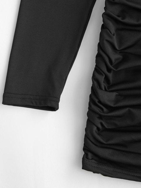 buy Gathered Side Fleece Lined Slinky Dress - BLACK M Mobile