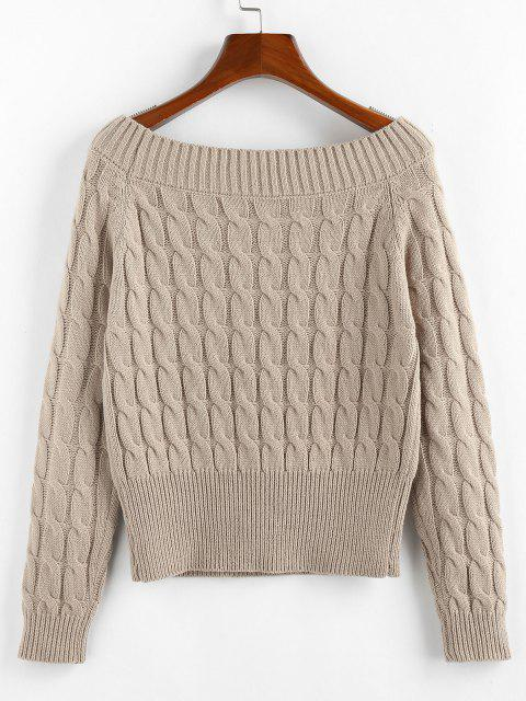 hot ZAFUL Solid Twist Boat Neck Sweater - LIGHT COFFEE M Mobile