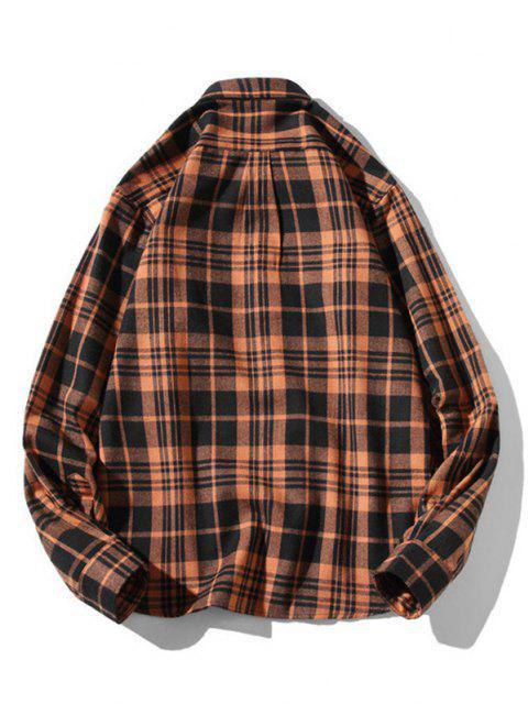sale Plaid Zigzag Pattern Turndown Collar Shirt - COFFEE M Mobile
