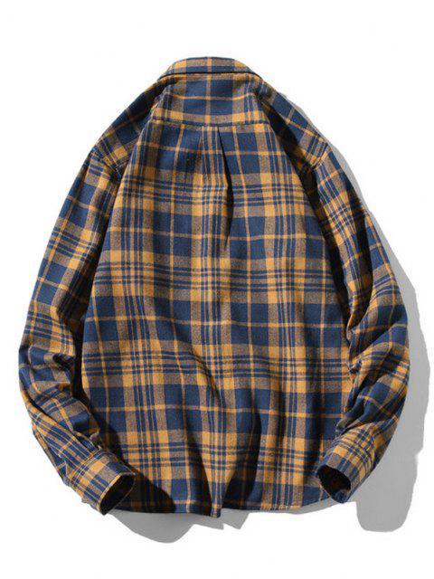 shop Plaid Zigzag Pattern Turndown Collar Shirt - DEEP BLUE L Mobile