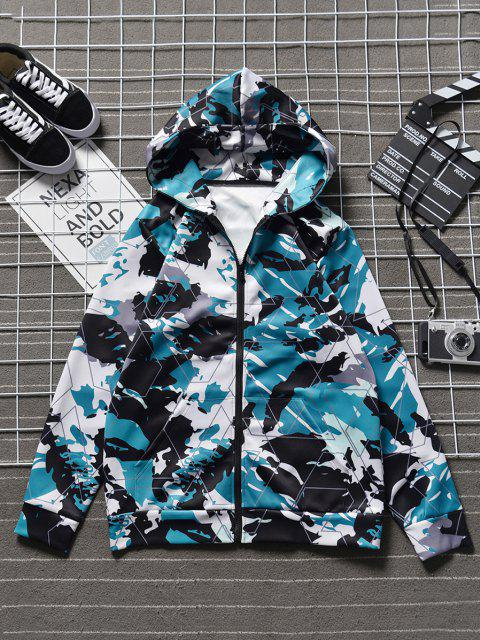 sale Hooded Camo Abstract Print Front Pocket Jacket - NAVY CAMOUFLAGE L Mobile