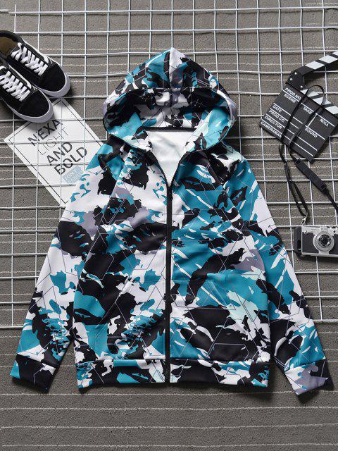 Veste à Capuche Camouflage Abstrait Imprimé avec Poche en Avant - Camouflage Bleu Marine L Mobile