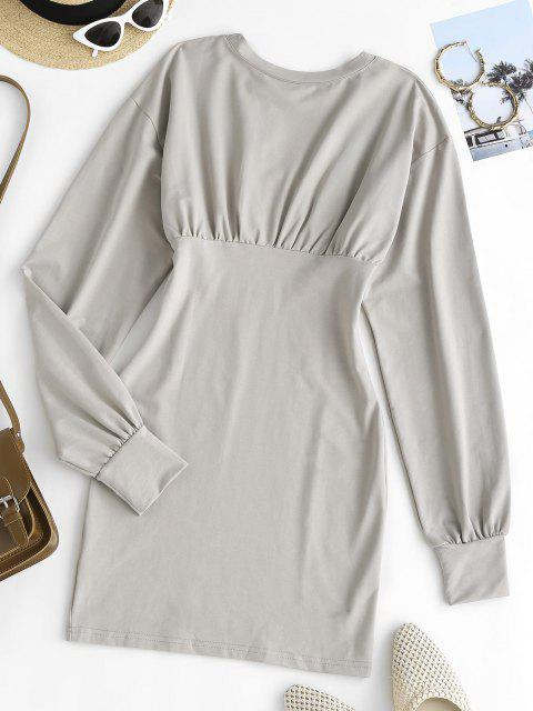 best Long Sleeve Ruched Slinky Sweatshirt Dress - GRAY M Mobile